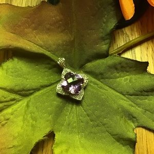 10 KT Amethyst and Diamond Pendant NWOT